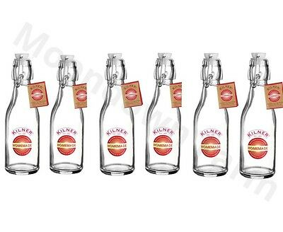 6 x Kilner Swing Top 250ml Glass Juice Oil Preserving and Storage Bottles Decal