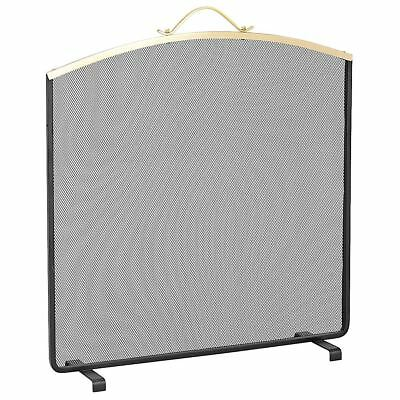 Black/Brass Single Pane Curved Top Fireplace Spark Guard Fire Screen With Handle