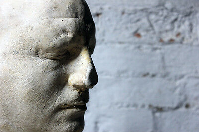 Antique Macabre Particularly Large Mid-20thC Plaster Death Mask of a Gentleman
