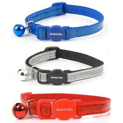 Ancol Gloss Reflective Cat Collar - Safety Release Buckle in Red, Blue or Silver