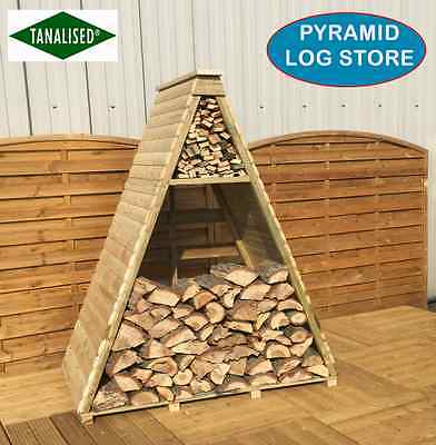 7'x4'LOG STORE WOOD STORAGE PRESSURE TREATED WOODEN LOG STORES NEW PYRAMID