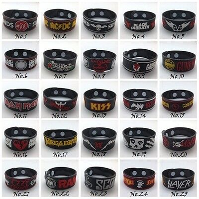 Wristband Rubber Silicon Bracelet Rock Band Music Heavy Metal Punk Logo DIY Cuff