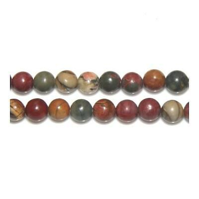 Strand of 45+ Mixed Picasso Jasper 8mm Plain Round Beads Y02115