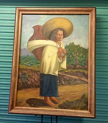 Magnificent Large Antique Oil on Canvas Art Painting Spanish Woman Southwestern