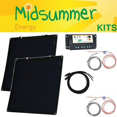 100W Semi-Flexi (55W+55W) 12V Twin Battery Solar Charger Kit - caravans, campers