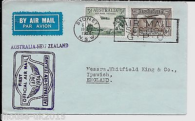 Australia 1934 Airmail Cover To Whitfield King - Backstamped Aukland 12.4.1934