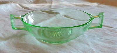 Lovely Green Vaseline Two Handled Bowl - C2756