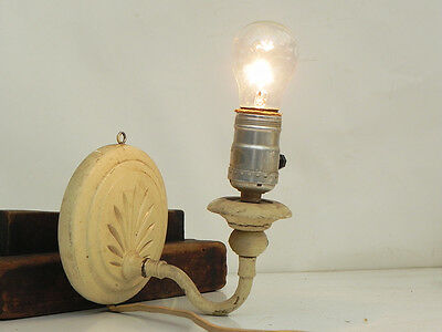 Vintage Wall Sconce Lamp Carved W/ Wood Backplate