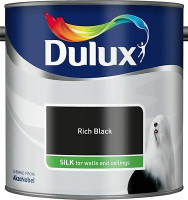 Dulux Silk Emulsion Paint For Walls & Ceilings 2.5L Rich Black