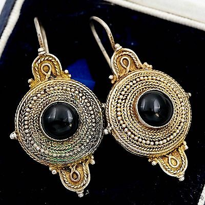 Antique Vintage Victorian Sterling Silver Etruscan Grand Tour Onyx Earrings!