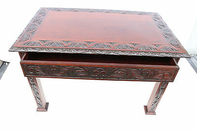 Antique American Victorian Heavily Carved Mahogany Desk Center Hall Table, 19th