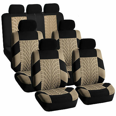 3 Row Car SUV VAN Seat Covers Set for 7 Seaters Beige