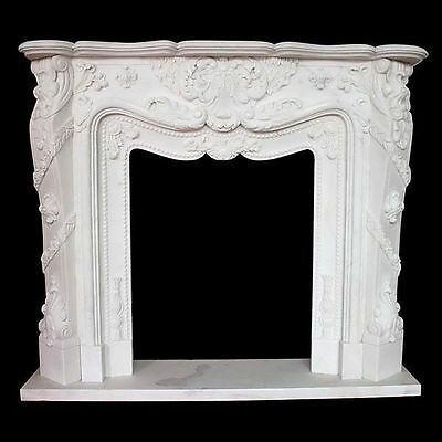 """Mantel Mantle Marble Hand Cut White Large Fits 42"""" Box New Free shipping 79"""" 63"""""""