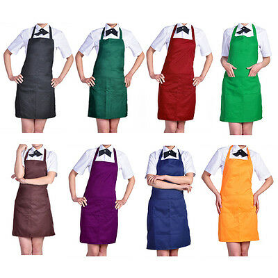 Plain Apron With Front Pocket For Chefs Kitchen Cooking Craft Uk Baking Glaring