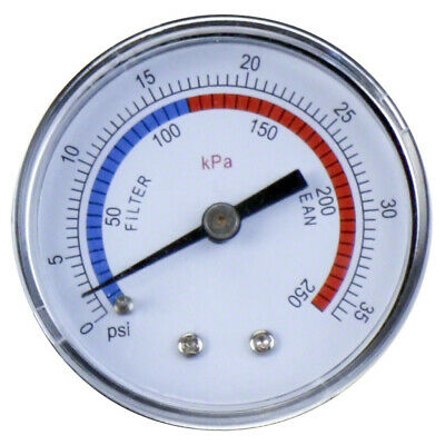 Swimming Pool Filter Pressure Gauge - Rear Mount