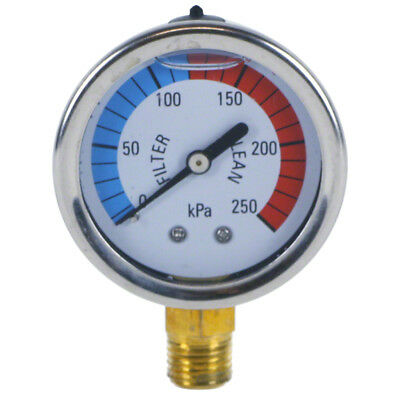 Swimming Pool Filter Pressure Gauge - Bottom Mount - Liquid Filled