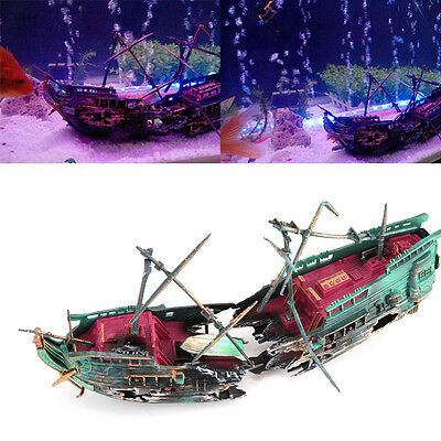 Ship Landscape Aquarium Fish Tank Ornament Wreck Sailing Hiding Boat Decoration