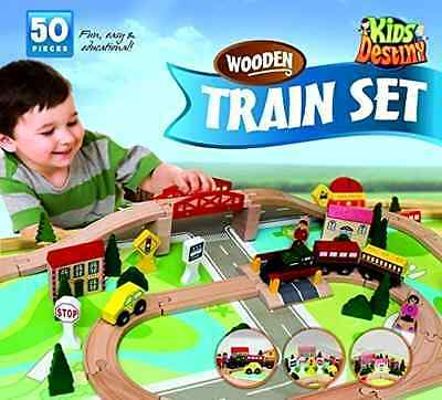 Wooden Train Set of 50 Pieces Includes Trucks Trains And Accessories KidsDestiny