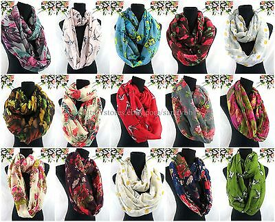 US SELLER-5pcs retro flower boho swallow lucky bird double loop infinity scarf
