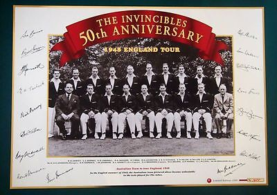 The Invincibles Australian 1948 England Cricket Tour Limited Edition  Poster