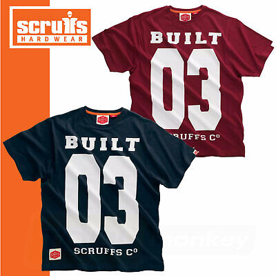 Men's Scruffs T-Shirt Built 03 Vintage Work and Casual TShirt - Maroon or Navy