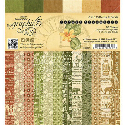 """Graphic 45 Double Sided Paper Pad 6""""X6"""" 36/Pkg Safari Adventure Print & Solid 12"""