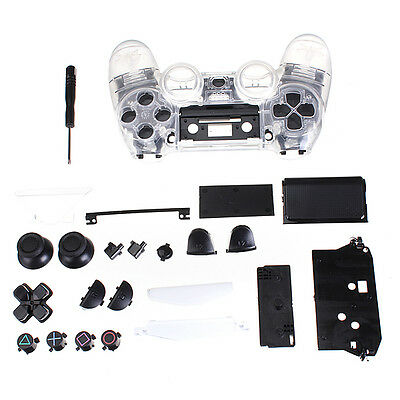 Clear Shell Full Housing case Controller Replacement cover for PS4 Playstation 4