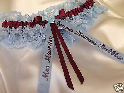 Personalised Claret And Blue Wedding Garter West Ham Aston Villa Colours Boxed