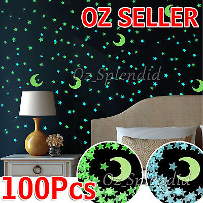 100PCS Home Wall Glow In The Dark Stars Stickers Decal Dreamy Noctilucent HC