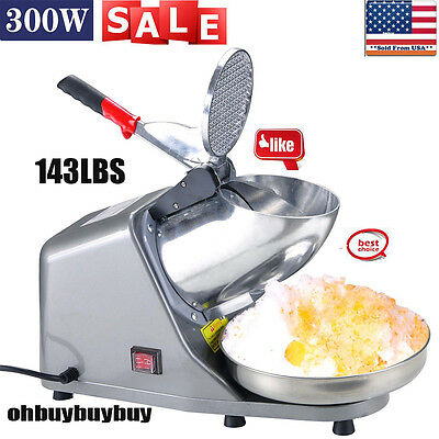 SLIVER Ice Shaver Machine Snow Cone Maker Shaved Icee 143lbs Electric Crusher OY