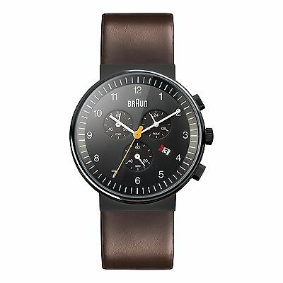Braun Men's Classic Chronograph Watch - Black & Brown Leather Strap BN0035BKBRG