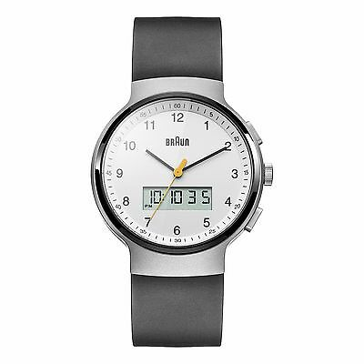 Braun Men's Classic Quartz Watch - White Dial and Black Rubber Strap BN0159WHBKG