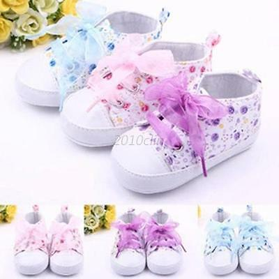 Baby Girls Crib Canvas Shoes Toddler Soft Sole Sneakers Prewalker Boots 0-3 UK