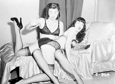 Bettie Page wearing Black Lingerie, Spanking Woman in Bed High Quality Photo