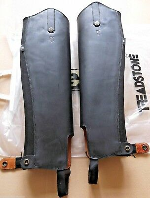 Treadstone adults Leather Horse Riding Half Chaps Boot Gaiters Black or Brown XS