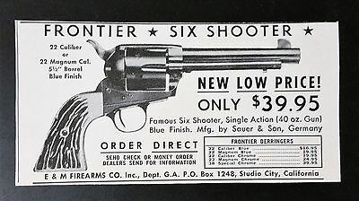 Vintage 1938 E&M Firearms Co. Frontier Six Shooter - Sauer & Son Germany AD