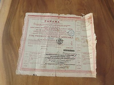 Antique Panama Canal Share Certificate Red 1836 Restamped 1889 Signed  Damage