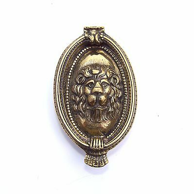 LION DOOR KNOCKER Oval Cameo Made in England Brass Antique Vtg