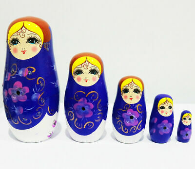 New 5Pcs/set Wooden Dolls Matryoshka Nesting Russian Babushka Toys Gift Blue