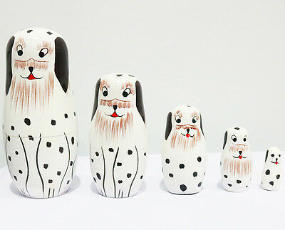 New 5Pcs/set Wooden Dolls Matryoshka Nesting Russian Babushka Toys Gift Doggy
