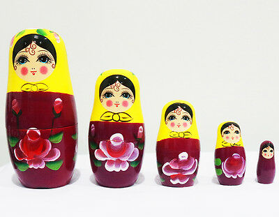 New 5Pcs/set Wooden Dolls Matryoshka Nesting Russian Babushka Toys Gift Yellow