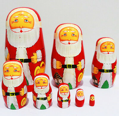 New 8Pcs/set Wooden Dolls Matryoshka Nesting Russian Babushka Gift Santa Claus