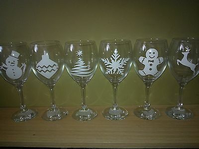 6 x Christmas Vinyl Decal Stickers Glitter Wine Glass DIY