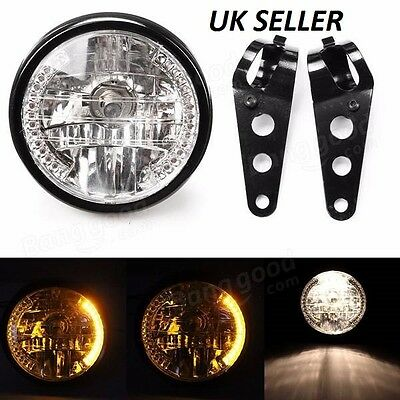 "7"" Inch Motorcycle Round Headlight H4 Bulb Head Lamp + Bracket For HARLEY BOBBER"