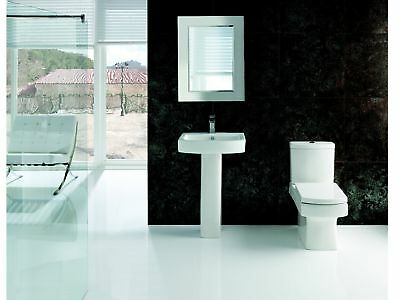 Modern White Ceramic Square Toilet and Basin Close Coupled Bathroom Cloakroom