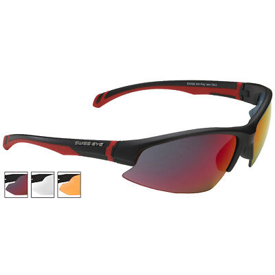Swiss Eye Flash Sunglasses Smoke Br Revo Orange Clear Lenses Black Matt Frame