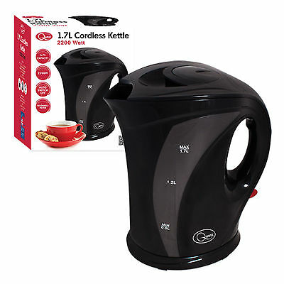 Black 1.7 Litre 2200w Cordless Fast Boil Electric Jug Kettle Washable Filter