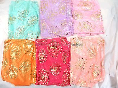 US SELLER-12pcs rose flower gold print trendy scarf Cheap Cute Fashion Scarves
