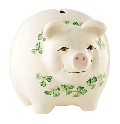Belleek Shamrock Pig Money Box