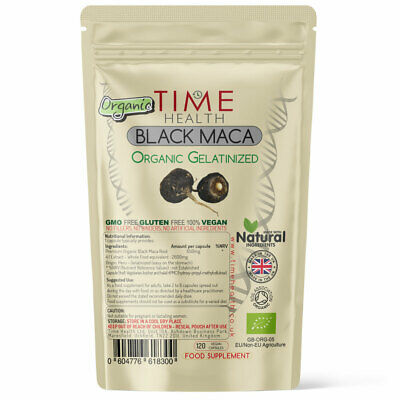 Organic Black Maca Root Capsules 2000mg Extract Gelatinized Sexual Health Energy